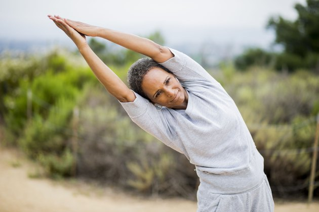 African American Senior Woman Yoga Instructor