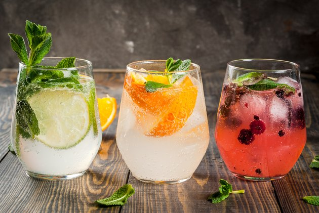Set of three kinds of gin tonic