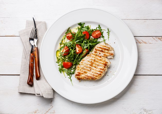 Roasted chicken breast and fresh salad