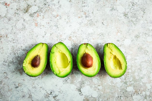 Overhead view of freshly prepared avocados