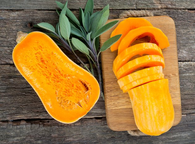 butternut squash on wooden background