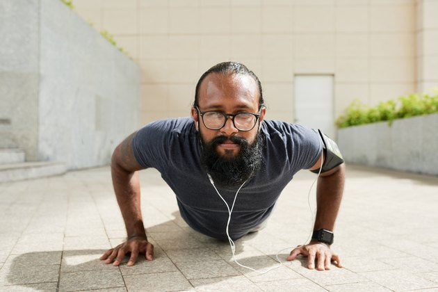 Bearded Athlete Doing Push-Ups