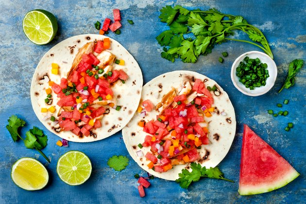 Mexican grilled chicken tacos with watermelon salsa