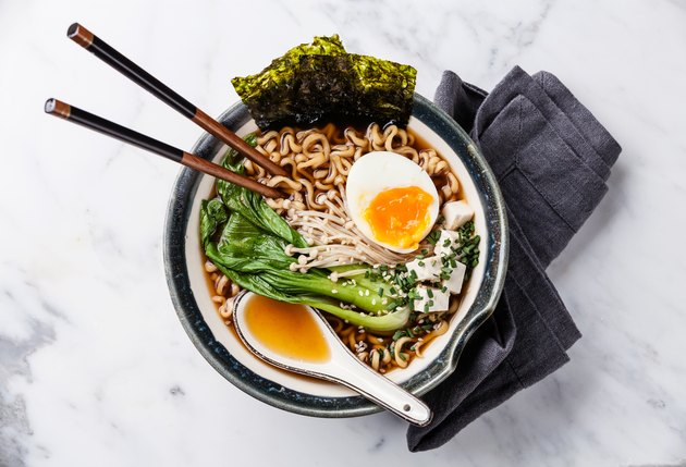 Miso Ramen noodles with egg, enoki and pak choi
