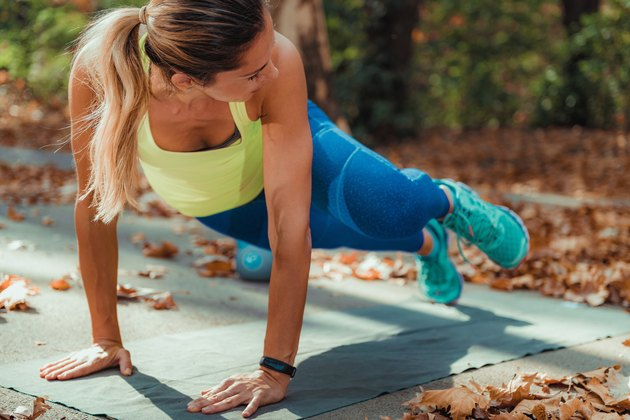 Woman Exercising Outdoors, High Intensity Interval Training.