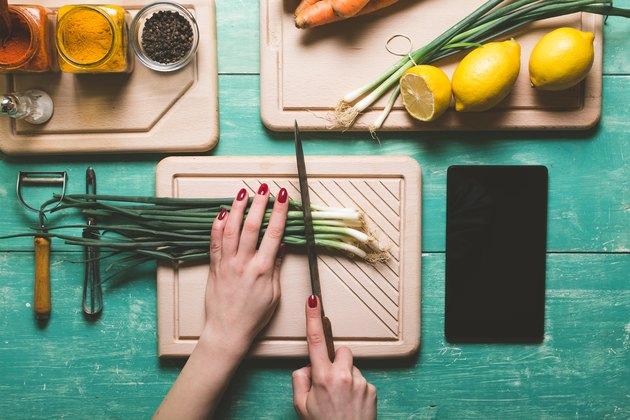 Cutting fresh vegetables