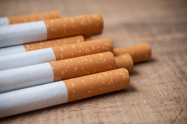 cigarette on wooden background
