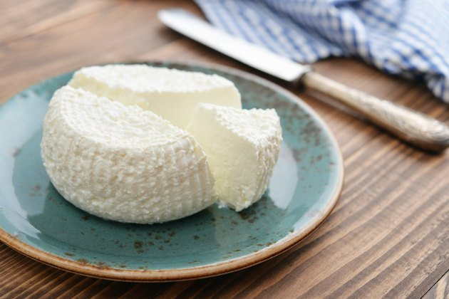 Fresh ricotta on plate