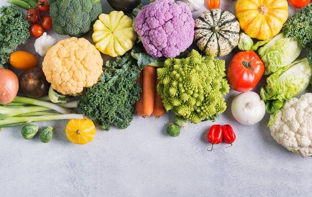 Top view of rainbow vegetables, autumn harvest