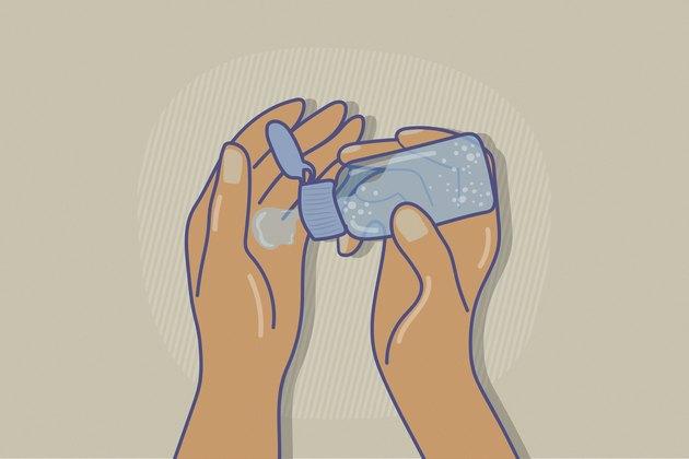 illustration of hands squeezing blue bottle of hand sanitizer on tan background