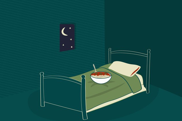 graphic showing a bowl of spaghetti and meatballs on bed at night