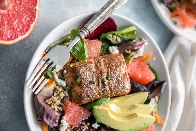 Grapefruit Salmon Salad With Quinoa, Beets and Avocado