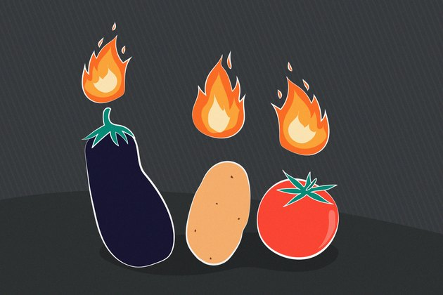 Illustration of nightshade vegetables with flames above them that cause inflammation