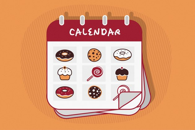 Illustration of a calendar with a dessert for each day