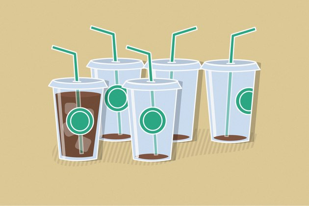 Illustration of 4 empty coffee cups and 1 full with straws to demonstrate drinking too much caffeine