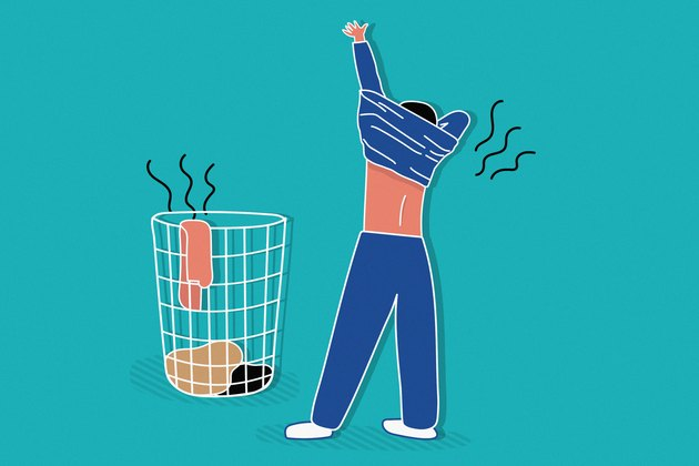 illustration of person putting on smelly exercise shirt with hamper on teal background