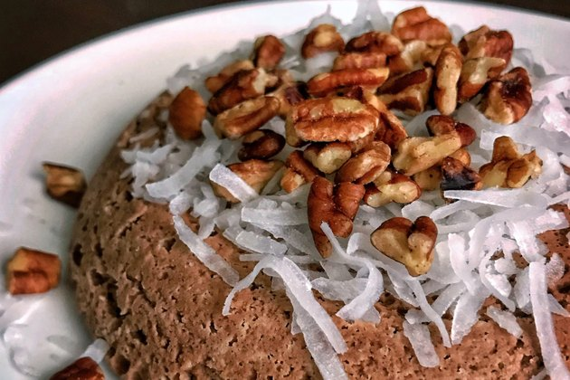 High Protein German Chocolate Mug Cake with coconut and nuts