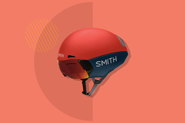 red Smith Podium TT bike helmet on red backround
