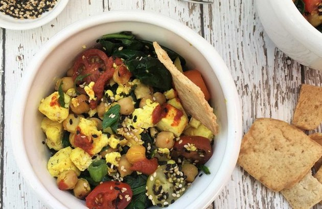 Middle Eastern Scramble Bowl with Pita Chips