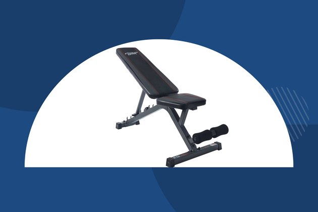 Fitness Gear Utility Bnech with a blue background
