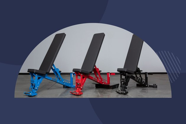 Mutli-colored weight benches from Rep Fitness with a navy blue background