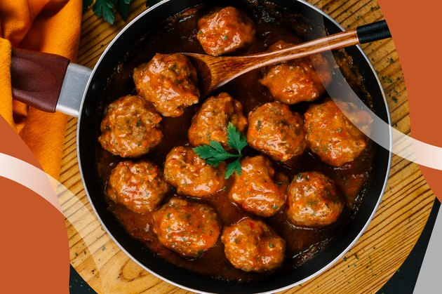 Meatballs and Gravy in a frying pan with a wooden spoon