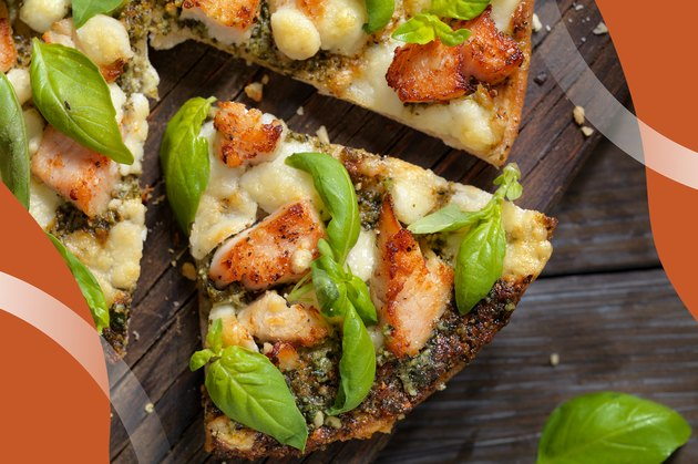 Spicy Chicken and Basil Pizza slices on a wooden table