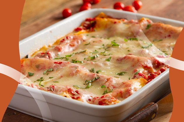 Baked lasagna in a white baking dish