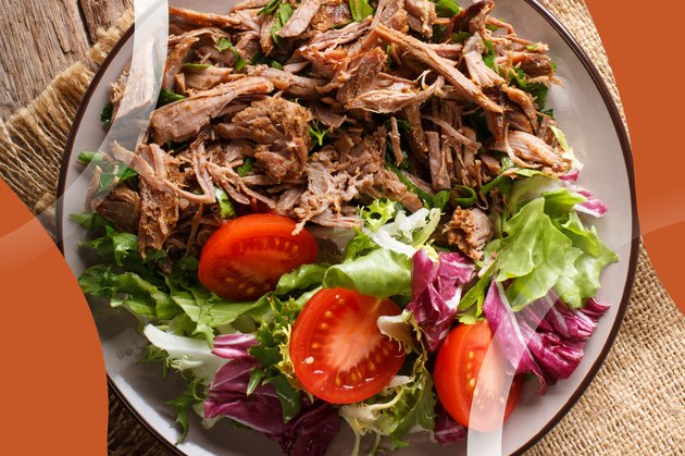 Healthy Instant Pot Carnitas with a side green salad on plate