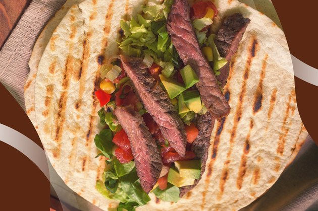 Grass-fed Steak Taco With Cowgirl Salsa on a large grilled tortilla