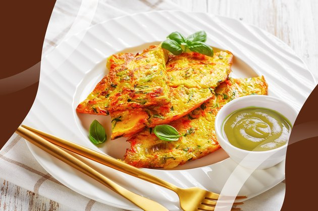 Fajita Frittata with Avocado Salsa on a white plate with gold fork and knife
