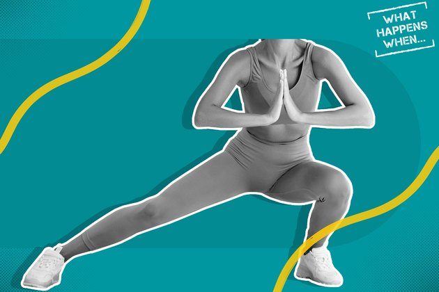 black and white image of woman in leggings and sports bra doing a side lunge on teal background with what happens when logo