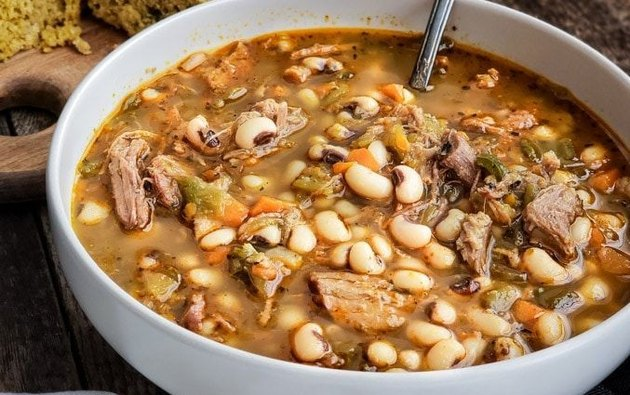 Pulled Pork and Green Chile Black-Eyed Pea Soup