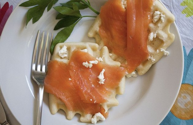 Waffles With Feta and Smoked Salmon Recipe