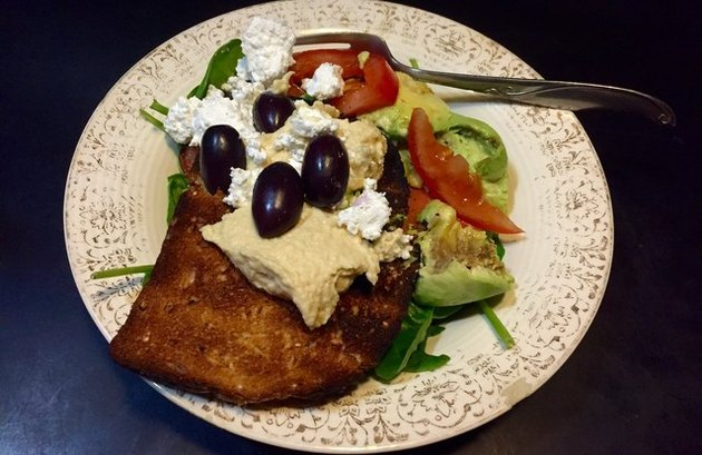 The Greco-Brecko Mediterranean Toast With Hummus and Olives