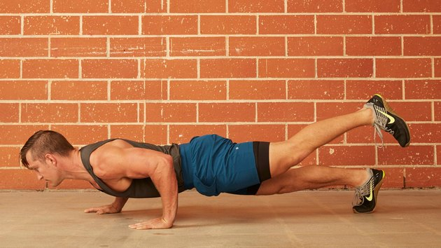 15. Staggered-Hand and Single-Leg Push-Up