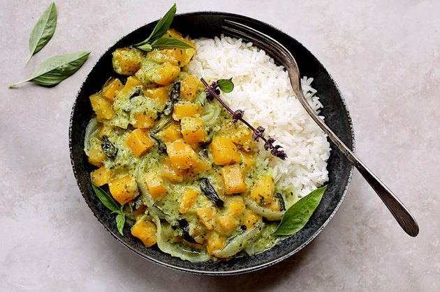 Butternut Squash in Fresh Green Curry