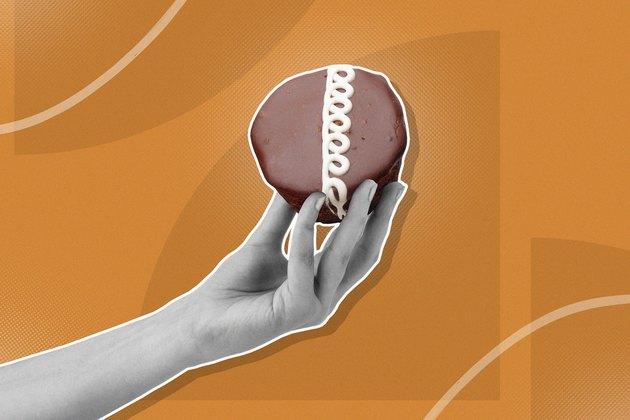 mixed media graphic showing hand holding cupcake on orange background