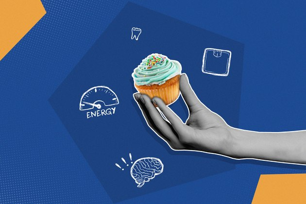 Blue and yellow illustration of the effects of added sugar on the body with hand holding cupcake