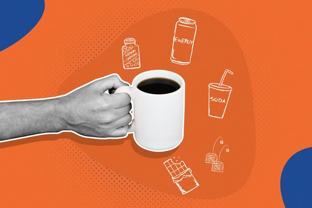 hand holding white mug of coffee with illustrations of caffeine from coffee, tea, energy drinks and other sources