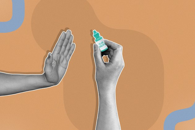 mixed media image showing hand saying 'no' to green bottle of artificial tears