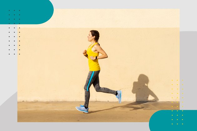 runner wearing yellow tank top and gray leggings in front of light yellow wall