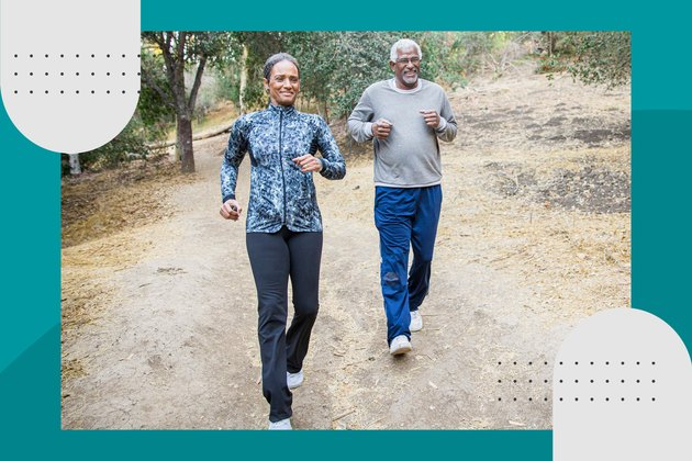 older adult couple running their first 5K on a hiking trail