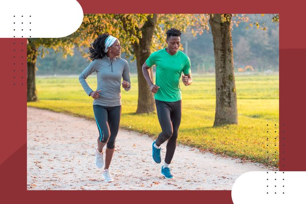 two runners running their fastest 5K in a park