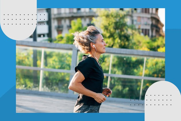 profile view of runner wearing black t-shirt and headphones in city