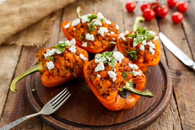 Homemade stuffed peppers with beef and feta cheese