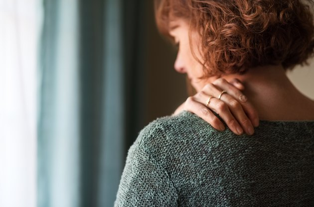 A woman with shoulder pain from myositis