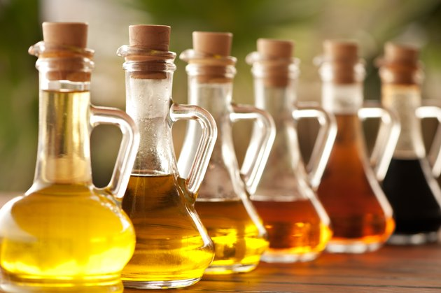 Bottles of refined cooking oils, which are some of the worst foods for psoriasis