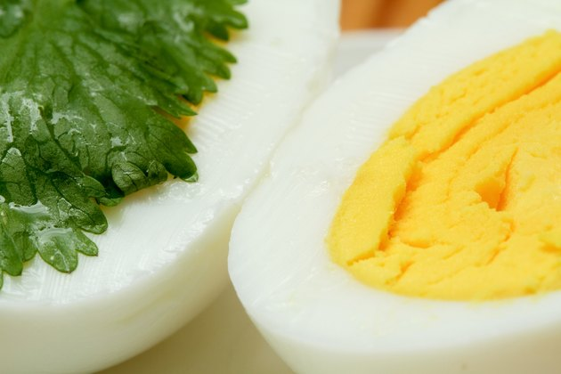 Cooked eggs decorated with parsley