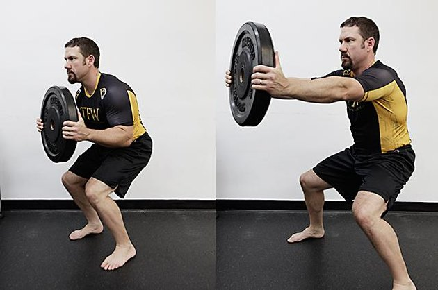 Man performing press and step exercise.